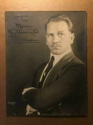 Wallace Beery Rare Very Early Vintage Autographed 7/9 Photo Oscar
