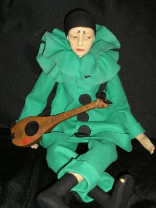 Rare Early Lenci Pierrot In Turquoise Felt Outfit Mandolin & Posie 25 ""
