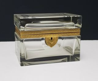 Large Antique French Bronze & Cut Crystal Casket Jewel Box