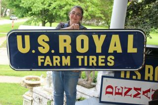 "Large Vintage 1950 U.  S.  Royal Farm Tires Gas Station 61 "" Embossed Metal Sign"