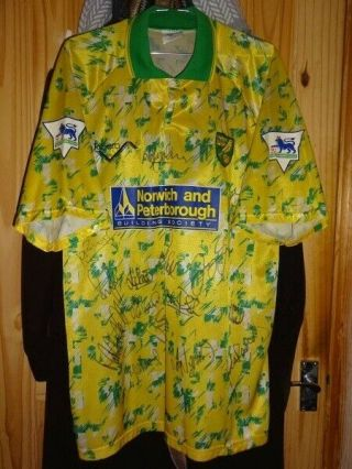 Very Rare Match Worn Norwich City Football Shirt Premier League Squad Signed