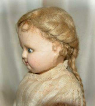 Antique Doll Wax Over Paper Mache With Rare Hair Style Early 1860s