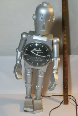 Fantastic Vintage Mido Watch Robot Advertising Counter Top Display C 1960
