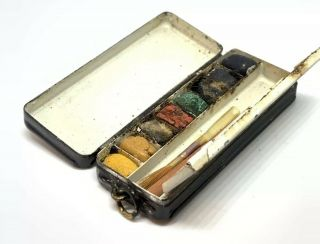 Vintage Roberson Traveling Key Chain Watercolor Paints And Brush Miniature