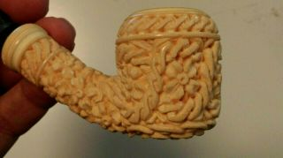 "Vintage Carved Meerschaum Pipe With Case Unsmoked Signed "" Eb """