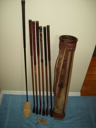 Vintage Set Of Clubs With Canvas Stove Pipe Bag