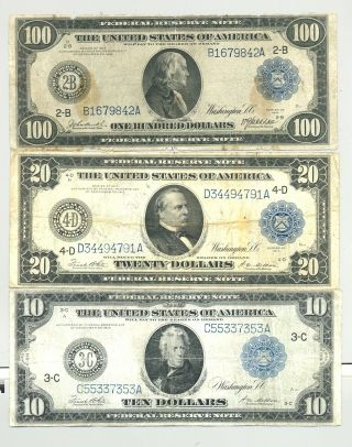 $10,  $20 And Rare $100 Series 1914 Federal Reserve Notes