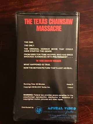 The Texas Chainsaw Massacre VHS Astral Video Rare Horror Big Clamshell Box HTF 2