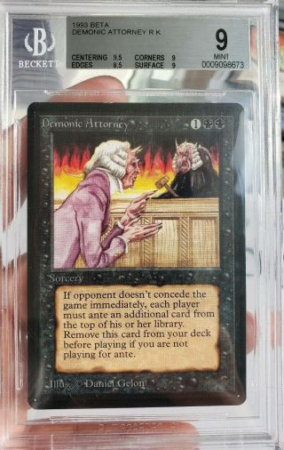 Vintage Magic | Mtg Bgs 9 Beta Demonic Attorney,  W/9.  5 Subs,