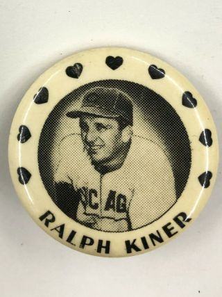 Ralph Kiner Pin Chicago Cubs Mlb Rare 1950s Vintage Pinback Button Hof All - Star