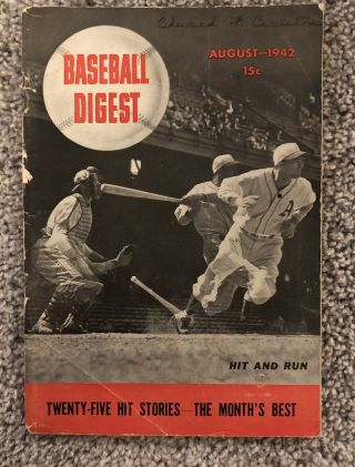 Baseball Digest 1942,  August First Issue Ever Published Rare