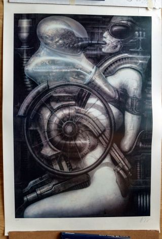 H.  R.  Giger Signed Limited Edition Print - Huge And Rare Print: Biomechanoid