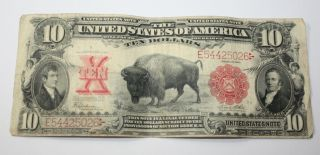 Rare 1901 Buffalo Bison $10 Lewis & Clark U S Bank Note Bill Red Seal Ten Dollar