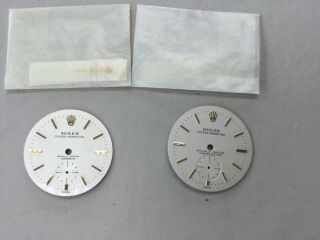 2 Rare Vintage Rolex Oyster Perpetual Seperate Seconds Dials With Hands.  25mm