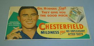 Rare Style 1950 Gil Hodges Brooklyn Dodgers Chesterfield Baseball Cardboard Sign