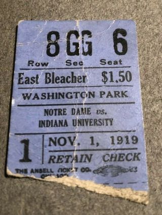 1919 Notre Dame Vs Indiana At Indianapolis Football Ticket Stub - Rare 1st Champs