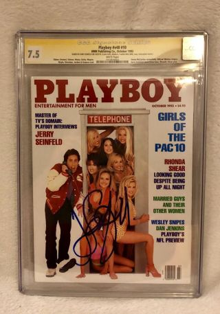 Playboy October 1993 Signed Jerry Seinfeld Cgc 7.  5 - Uber Rare Only 7.  5 Witness