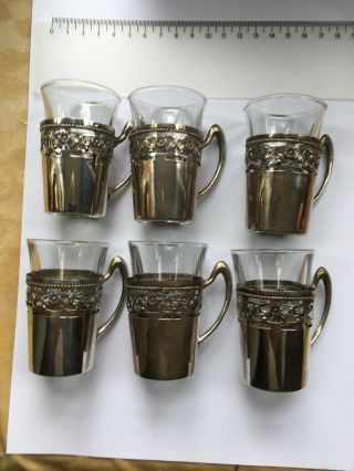 German Silver Antique Tea Glass Holders Marked 800,  Replacement Shot Glasses.