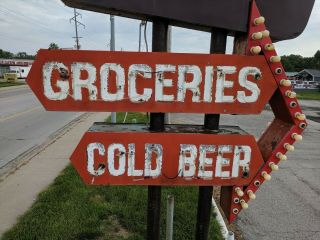 vintage neon custom sign tobacco,  liquors,  groceries,  cold beer,  drive in 10