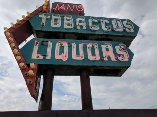 vintage neon custom sign tobacco,  liquors,  groceries,  cold beer,  drive in 2