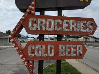 vintage neon custom sign tobacco,  liquors,  groceries,  cold beer,  drive in 4