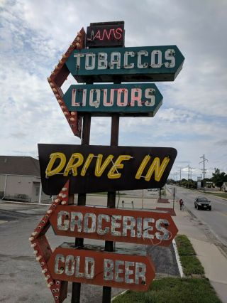vintage neon custom sign tobacco,  liquors,  groceries,  cold beer,  drive in 5