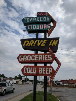 vintage neon custom sign tobacco,  liquors,  groceries,  cold beer,  drive in 6