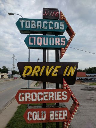 vintage neon custom sign tobacco,  liquors,  groceries,  cold beer,  drive in 7