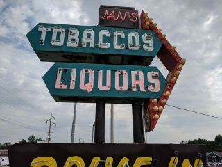 vintage neon custom sign tobacco,  liquors,  groceries,  cold beer,  drive in 8