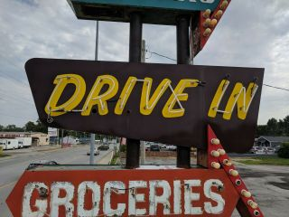 vintage neon custom sign tobacco,  liquors,  groceries,  cold beer,  drive in 9