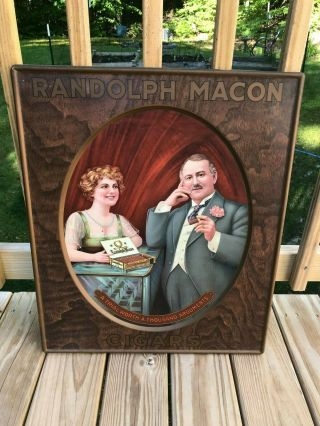 EARLY RANDOLPH MACON CIGAR TOBACCO TIN ADVERTISING SIGN OLD VINTAGE ANTIQUE 2