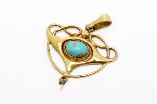 A Pretty Antique Edwardian Arts & Crafts 9ct Yellow Gold Turquoise Pendant 13727