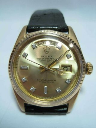 Vintage 1969 Rolex Day - Date 18k Yellow Gold Model 1803