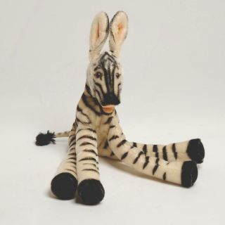 Rare Vintage Steiff Lulac Zebra W/button & Partial Tag,  Wow