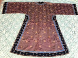 Antique Chinese Brown Silk Damask Dragon Roundel Robe Double Happiness Imperial 11