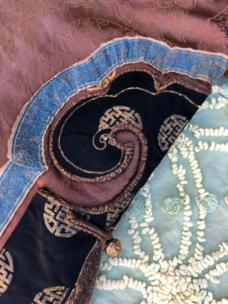 Antique Chinese Brown Silk Damask Dragon Roundel Robe Double Happiness Imperial 12