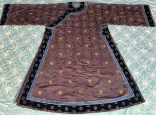 Antique Chinese Brown Silk Damask Dragon Roundel Robe Double Happiness Imperial