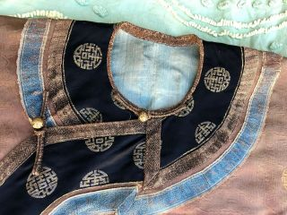 Antique Chinese Brown Silk Damask Dragon Roundel Robe Double Happiness Imperial 5