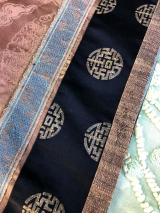 Antique Chinese Brown Silk Damask Dragon Roundel Robe Double Happiness Imperial 9