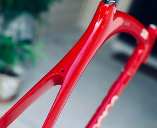 "Rare 1989 Carbon Cinelli ""Cinetica"" bicycle road frame,  Campagnolo.  Ferrari red. 10"