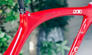 "Rare 1989 Carbon Cinelli ""Cinetica"" bicycle road frame,  Campagnolo.  Ferrari red. 5"