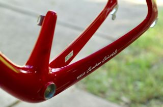 "Rare 1989 Carbon Cinelli ""Cinetica"" bicycle road frame,  Campagnolo.  Ferrari red. 7"