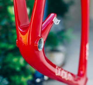 "Rare 1989 Carbon Cinelli ""Cinetica"" bicycle road frame,  Campagnolo.  Ferrari red. 9"