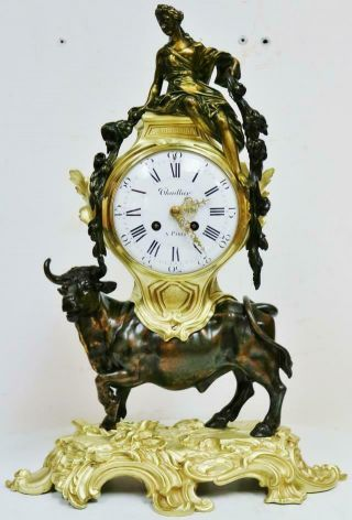 Rare Large Antique French Empire 8 Day 2 Tone Bronze Ormolu Bull Mantle Clock
