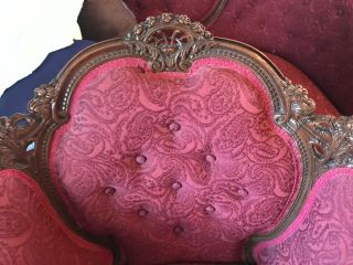 Antique Victorian red couch and chair reupholstered and wood refinished 12