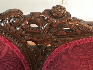 Antique Victorian red couch and chair reupholstered and wood refinished 4