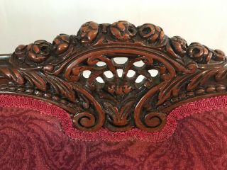 Antique Victorian red couch and chair reupholstered and wood refinished 7