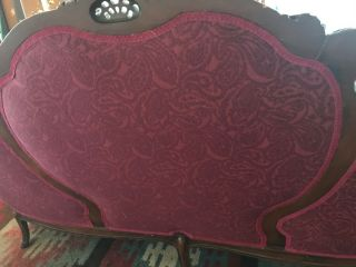 Antique Victorian red couch and chair reupholstered and wood refinished 9