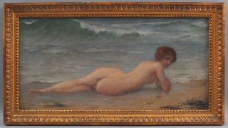 Antique Charles A Lenoir French Impressionist Nude Woman Beach Oil Painting Nr