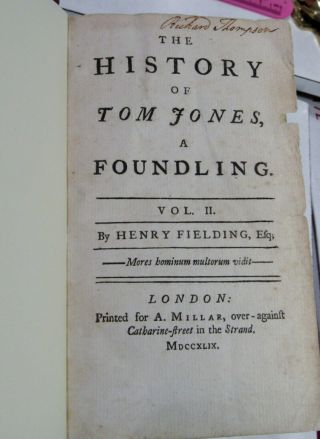 TOM JONES by HENRY FIELDING/1749/RARE TRUE 1st Edition 1st ISSUE/FINE LEATHER BN 11